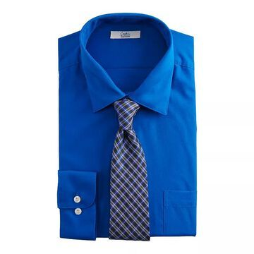 Big & Tall Croft & Barrow Stretch Collar Dress Shirt and Patterned Tie Boxed Set, Men's, Size: LT 36/37, Blue
