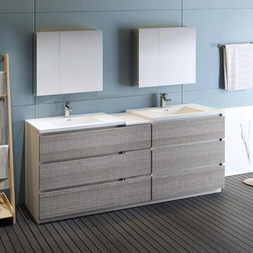 Fresca Senza 84-in Glossy Ash Gray Double Sink Bathroom Vanity with White Acrylic Top (Faucet Included) | FVN93-361236HA-D