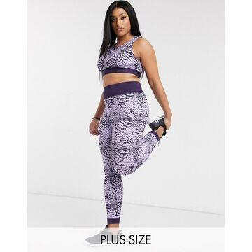 Wolf & Whistle Curve Eco leggings in purple tie dye