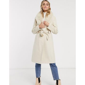 Miss Selfridge tailored coat with detatchable faux fur trim in cream