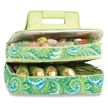 Entertainer Hot and Cold Food Carrier, Green Paisley
