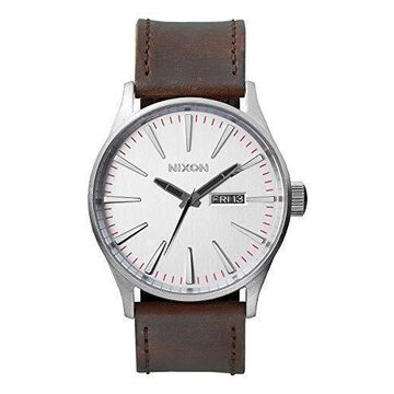 Nixon Sentry Leather A1051113-00. Silver and Brown Mens Watch 42mm Silver/White