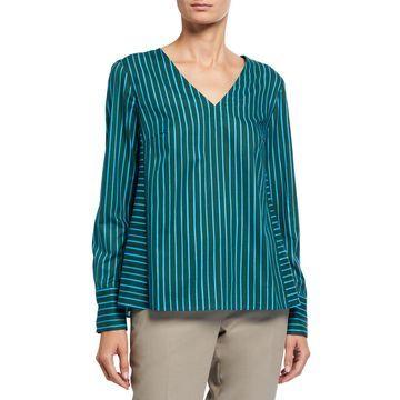 V-Neck Long-Sleeve Striped Top