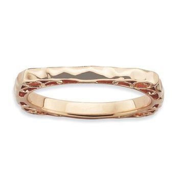 925 Rose Gold Flashed Silver Rippel Pattern Square Ring