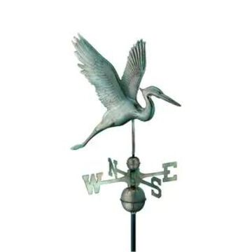 Graceful Blue Heron Pure Copper Weathervane by Good Directions (Blue Verde Copper)