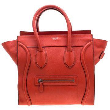 Celine Orange Leather Mini Luggage Tote