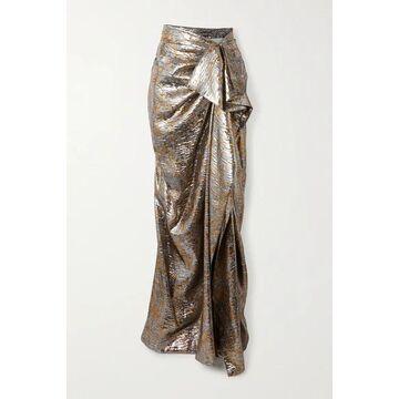 Dries Van Noten - Draped Metallic Silk-blend Lame Maxi Skirt - Silver