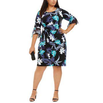 Plus Size Flutter-Sleeve Sheath Dress