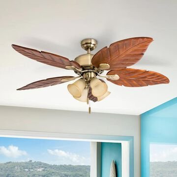 Honeywell Royal Palm Aged Brass Tropical LED Ceiling Fan with Light - 52-inch