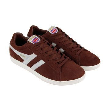 Gola Equipe Mens Brown Suede Retro Lace Up Low Top Sneakers Shoes