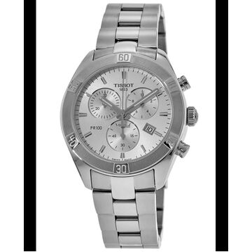 Tissot PR 100 Sport Chic 38mm Chronograph Silver Dial Women's Watch T101.917.11.031.00 T101.917.11.031.00