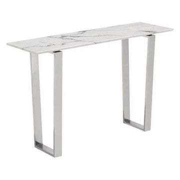 Zuo Modern Atlas Console Table Stone and Brushed Stainless Steel