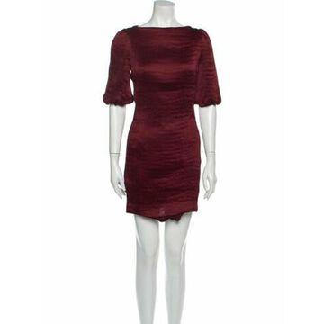 Bateau Neckline Mini Dress Red
