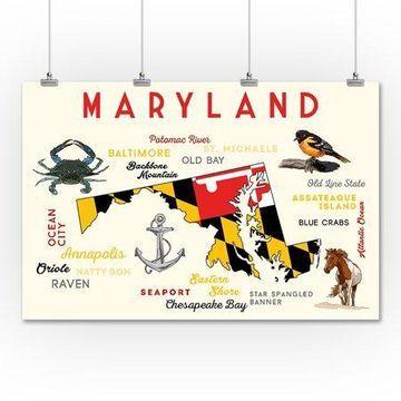 Maryland - Typography & Icons - Lantern Press Artwork (36x54 Giclee Gallery Print, Wall Decor Travel Poster)