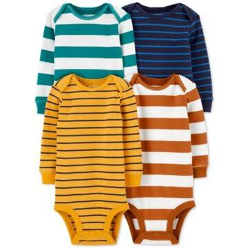 Carter's Baby Boys 4-Pack Long-Sleeve Striped Cotton Bodysuits