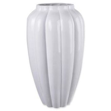 A&B Home Larissa Ribbed Ceramic Vase in White