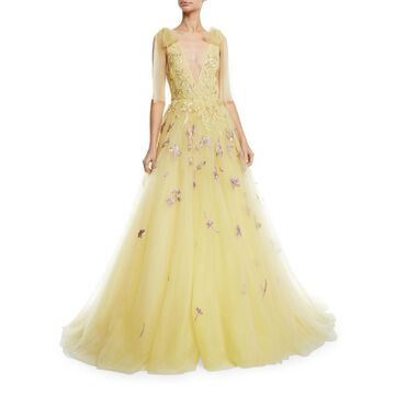 Deep V-Neck Embroidered Tulle A-Line Gown