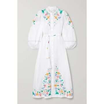 Zimmermann - Fiesta Belted Embroidered Linen Maxi Dress - Ivory