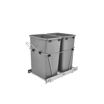 Rev-A-Shelf RV-18KD-17C S Silver Double 35-quart Waste Containers