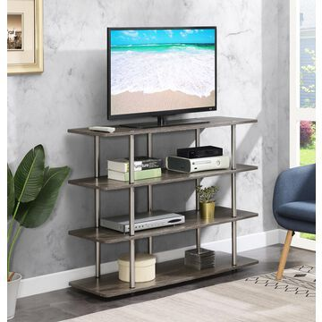 """Convenience Concepts Designs2Go XL Highboy 4 Tier TV Stand, Maximum Screen Size 50"""", Weathered Gray"""
