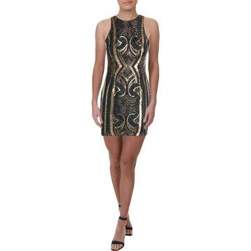 Aidan Mattox Womens Metallic Sequined Clubwear Dress