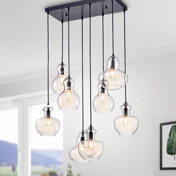 Warehouse of Tiffany Beveen Black Metal and Glass 8-light Pendant