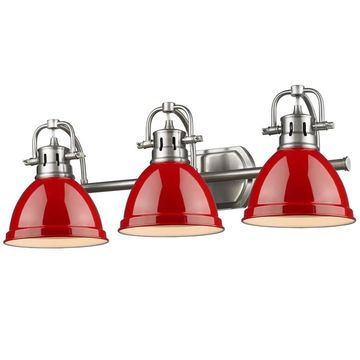 Golden Lighting Duncan 3-light Bath Vanity in Pewter with Red Shades