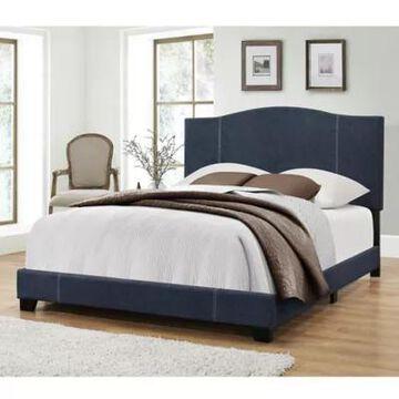 Pulaski Modified Camel Back King Upholstered Bed In Blue