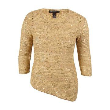 INC International Concepts Women's Crochet Sequined Sweater