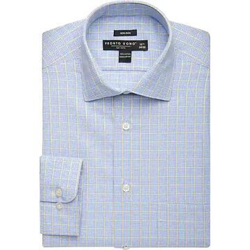 Pronto Uomo Men's Yellow & Blue Check Dress Shirt - Size: 19 36/37 - Only Available at Men's Wearhouse