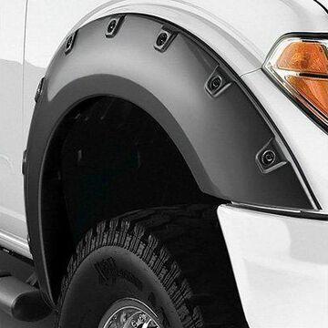 2019 Dodge Ram Bushwacker Pocket Style Fender Flares, Front Fender Flare Set Only (2 Pieces) in Smooth Black