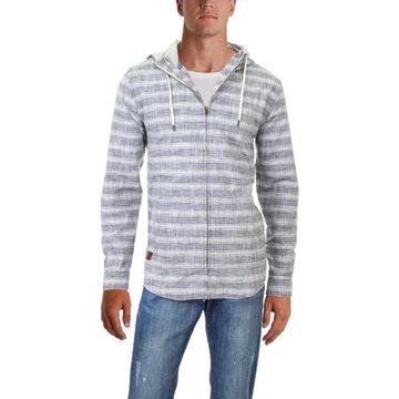 KAVU Mens Baja Zip Striped Woven Hoodie