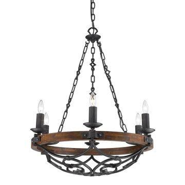Golden Lighting Madera Black Iron 6 Light Chandelier in Black Iron With