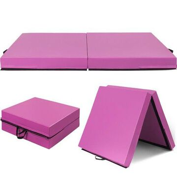 6x3.2x4 Gymnastic Mat Thick Two Folding Panel Fitness Exercise Pink