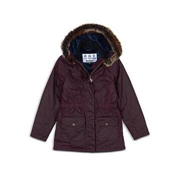 Barbour Girls' Waxed Faux Fur Trim Hooded Coat - Big Kid