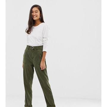Miss Selfridge cargo pants with belt in khaki