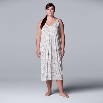 Plus Size Simply Vera Vera Wang V-Neck Chemise, Women's, Size: 2XL, Light Grey