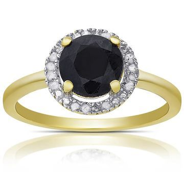 Dolce Giavonna Gold Over Sterling Silver Gemstone and Diamond Accent Halo Ring