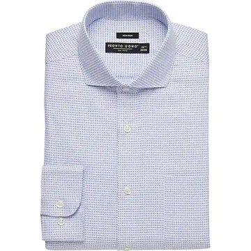 Pronto Uomo Men's Blue Dot & Check Modern Fit Dress Shirt - Size: 16 1/2 32/33 - Only Available at Men's Wearhouse