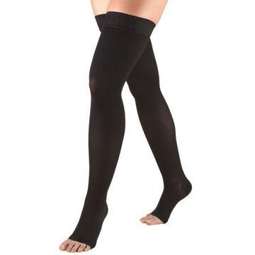 Truform Stockings, Thigh High, Open Toe, Dot Top: 20-30 mmHg, Black, Small
