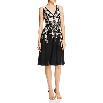 Aidan Mattox Womens Velvet Beaded Cocktail Dress