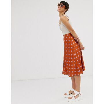 Monki polka dot satin midi skirt in rust and lilac