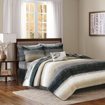 Home Essence Seth Complete Reversible Coverlet and Cotton Sheet Set