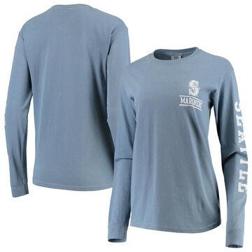 Seattle Mariners Soft as a Grape Women's Pigment Dye Comfort Color Long Sleeve T-Shirt - Navy