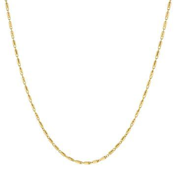 14K Yellow Gold 18 Inch Textured Link Chain by Beverly Hills Charm