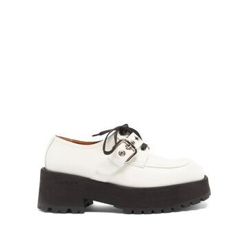 Marni - Exaggerated-sole Leather Loafers - Womens - White