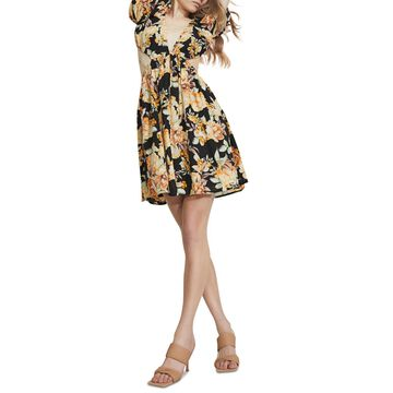 Bardot Printed Puff-Sleeve Mini Dress