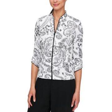 Alex Evenings Printed Mandarin-Collar Jacket