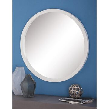 Contemporary 32 Inch Round Wooden Framed Wall Mirror by Studio 350 - White
