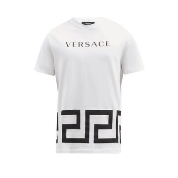 Versace - Logo And Greca-print Cotton-jersey T-shirt - Mens - White
